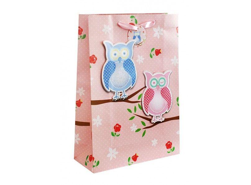 """Подарочный пакет """"3 совы на розовом"""", 30 х 42 см"""