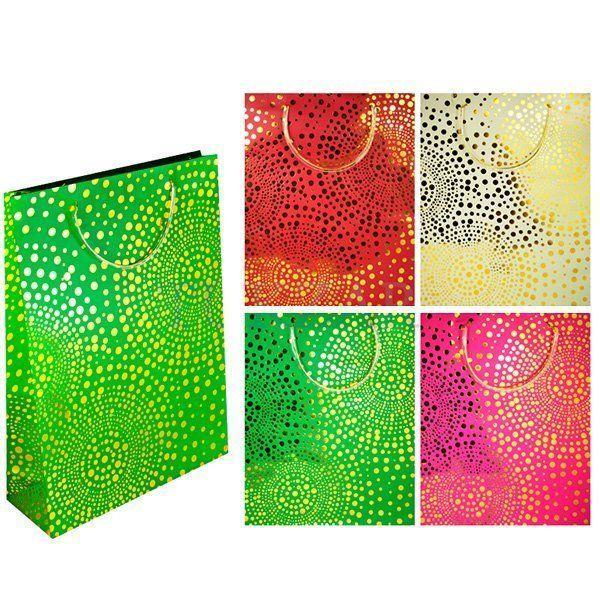 """Подарочный бумажный пакет """"Золотые точки"""", 23 х 18 см"""