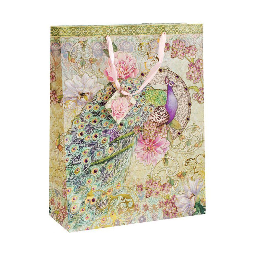 """Подарочный пакет """"Павлин в цветах"""", 30 x 39 см"""