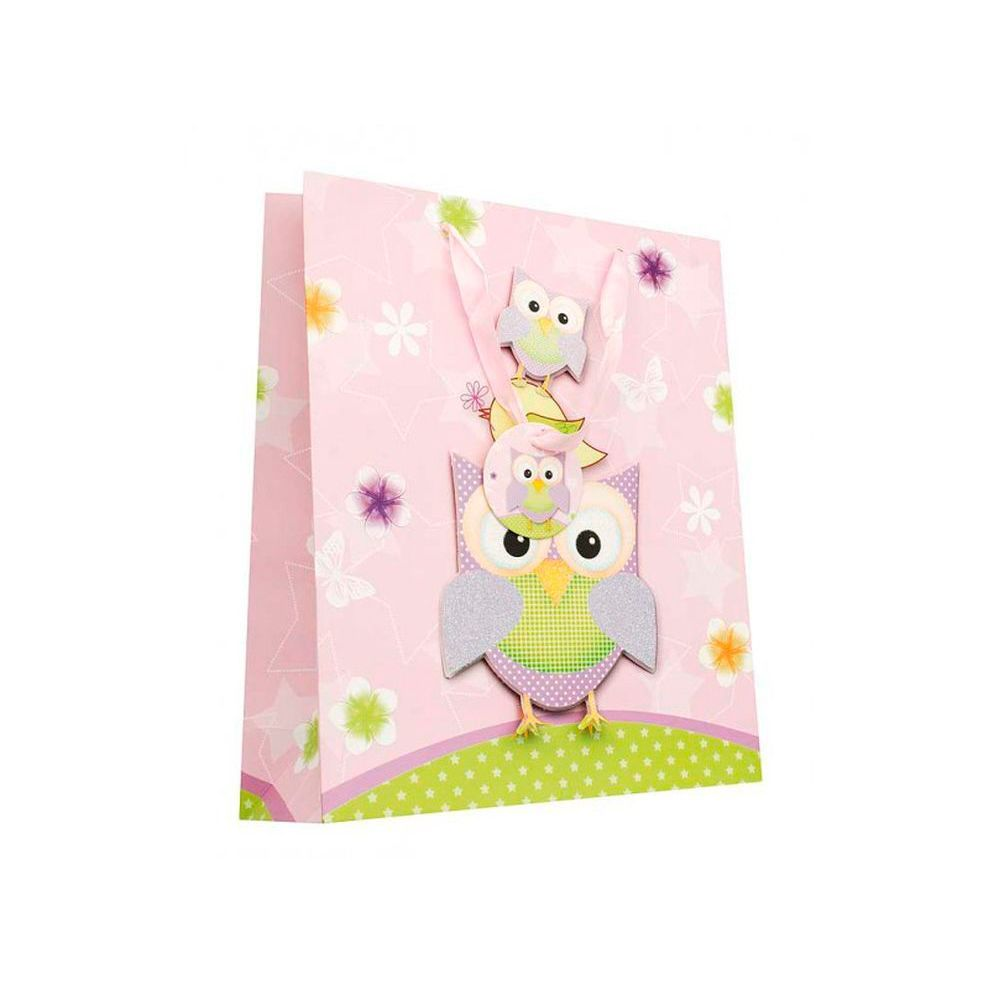 """Подарочный пакет """"Сиреневые совы"""", 32 х 26 см"""
