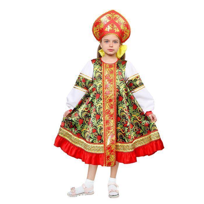 Русский народный костюм для девочки «Рябинка», платье, кокошник, р. 38, рост 146 см