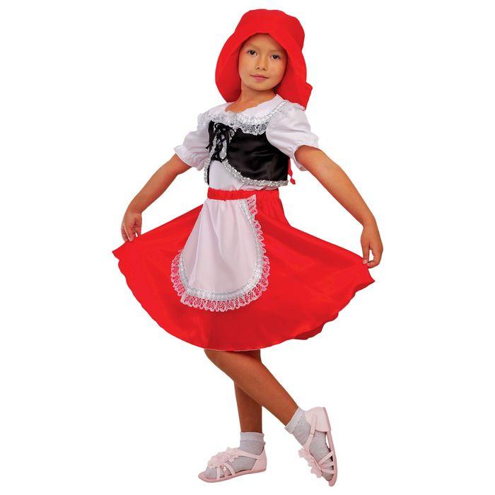"""Карнавальный костюм """"Красная Шапочка"""", блузка, юбка, шапка, р-р 34, рост 134 см"""