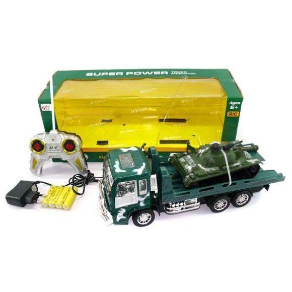 Военный грузовик р/у Super Power с танком (на аккум., свет, звук)