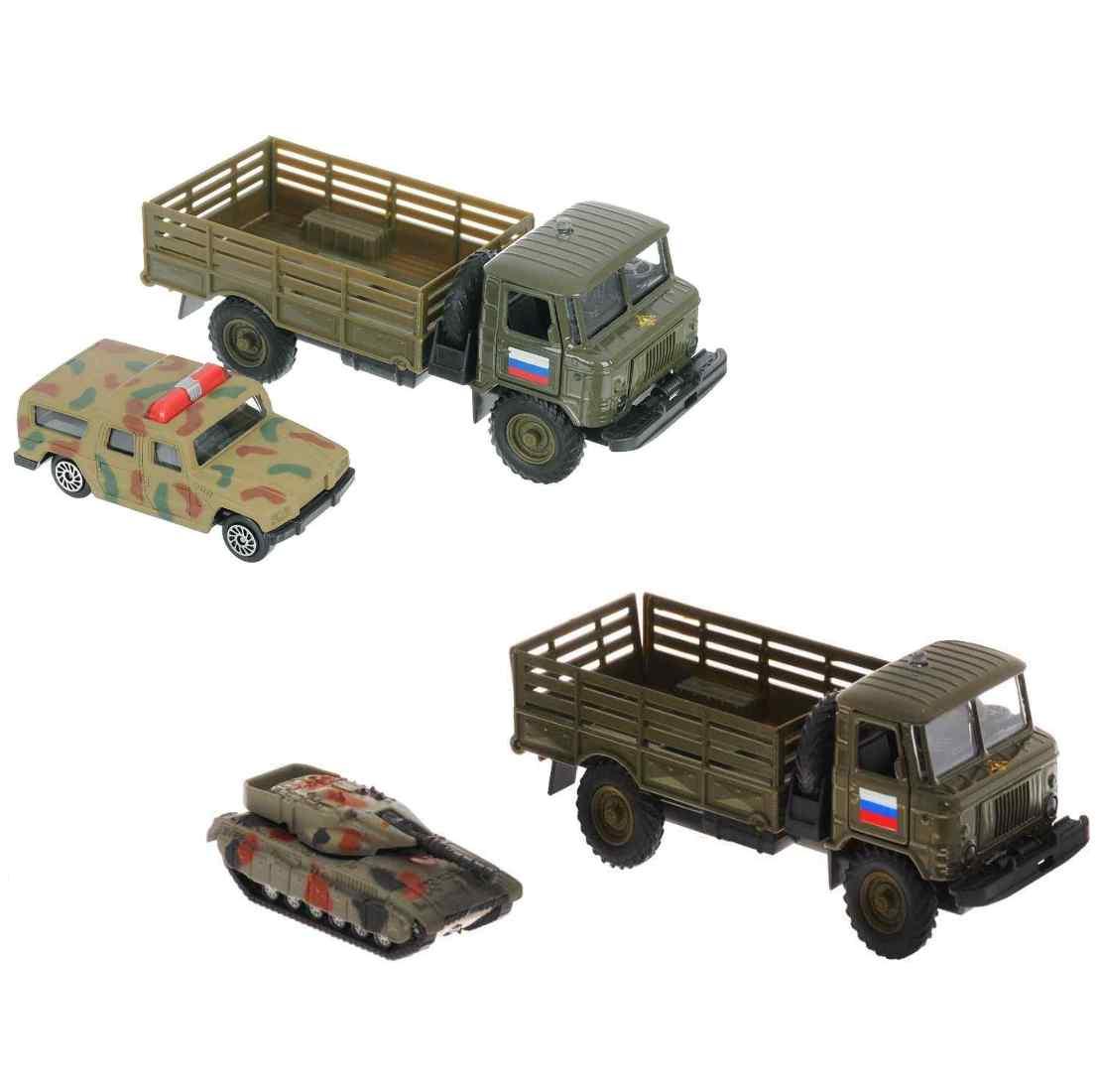 """Масштабная модель автомобиля """"Газ 66"""" с машиной / танком (свет, звук), 1:43"""