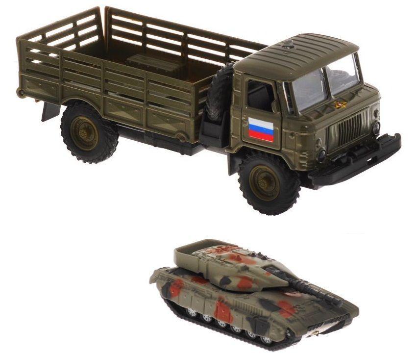 """Инерционная машина """"ГАЗ-66"""" с танком (свет, звук), 1:43"""