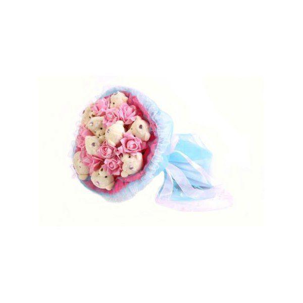 """Букет из мягких игрушек """"Медвежата и розы"""", розово-голубой, 9 мишек и 9 роз"""