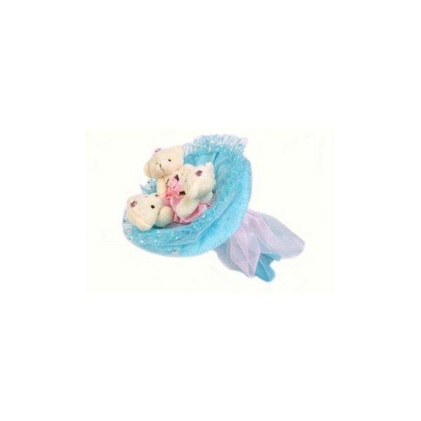 """Букет из 3 мягких игрушек """"Медвежата"""", голубой"""