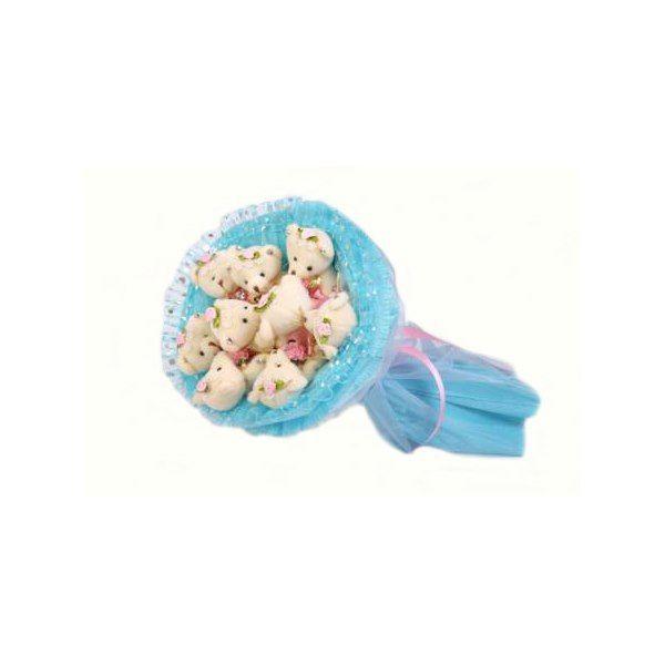 """Букет из мягких игрушек """"Медвежата"""", голубой, 9 мишек"""