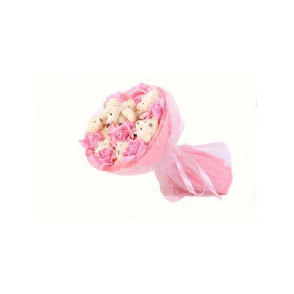 """Букет из мягких игрушек """"Медвежата и розы"""", розовый, 7 мишек и 7 роз"""