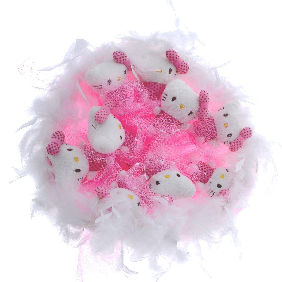 """Букет из 9 мягких игрушек """"Китти"""", розовый"""