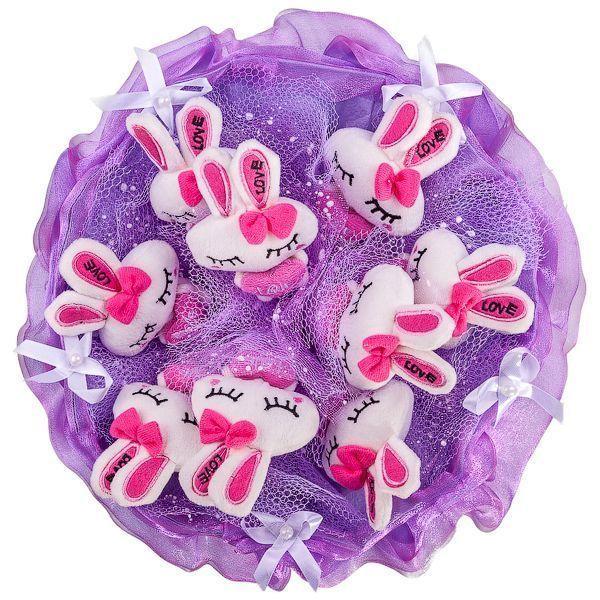 """Букет из 9 мягких игрушек """"Зайчата"""", фиолетовый"""