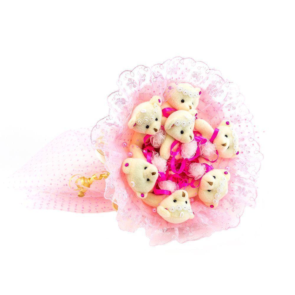 """Букет из 7 мягких медвежат """"Зефирки"""", розовый"""