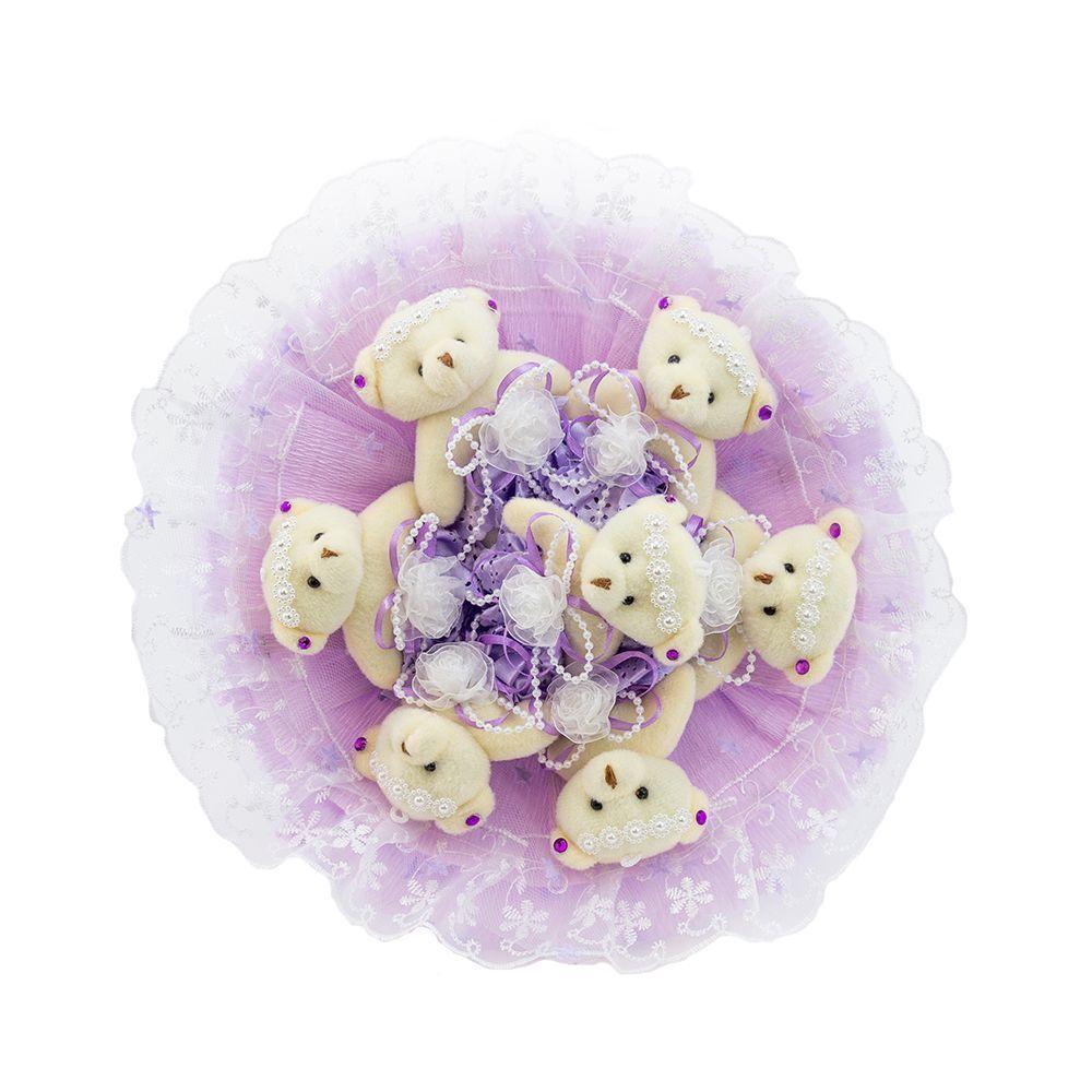 """Букет из 7 плюшевых медвежат """"Зефирки"""", фиолетовый"""