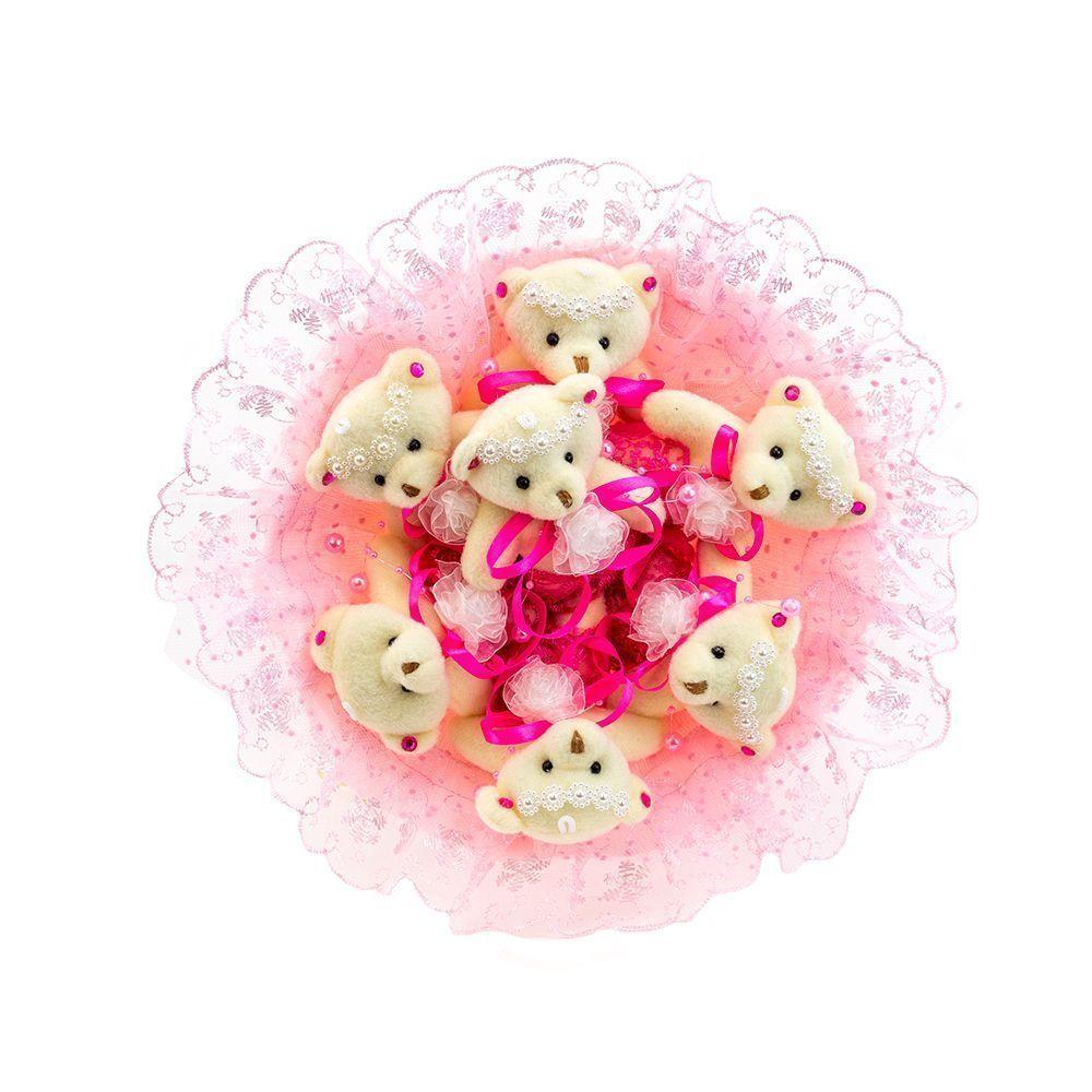 """Букет из 7 мягких игрушек """"Медвежата"""", розовый"""
