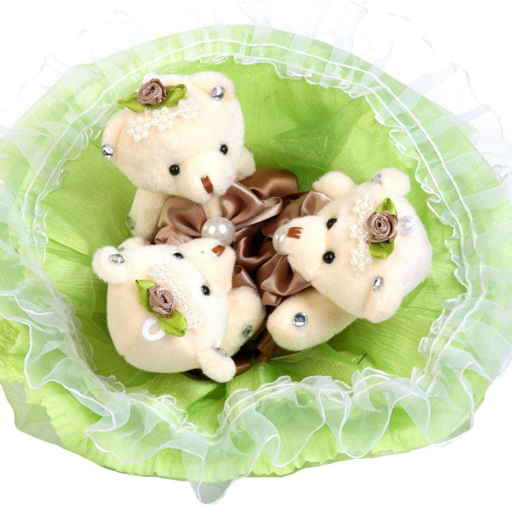 """Букет из 3 мягких игрушек """"Медвежата"""", салатовый"""