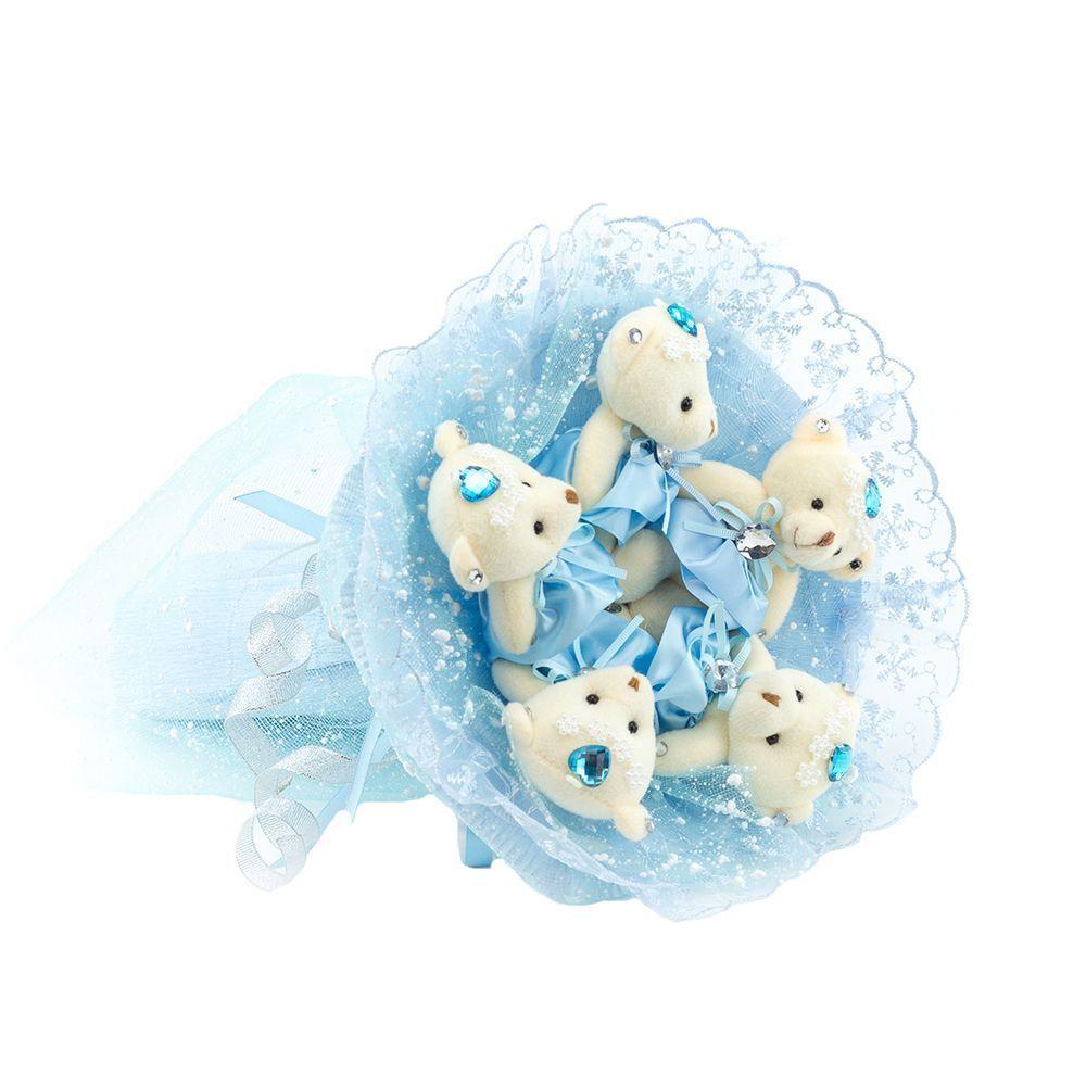 """Букет из 5 мягких медвежат """"Зефирки"""", голубой"""