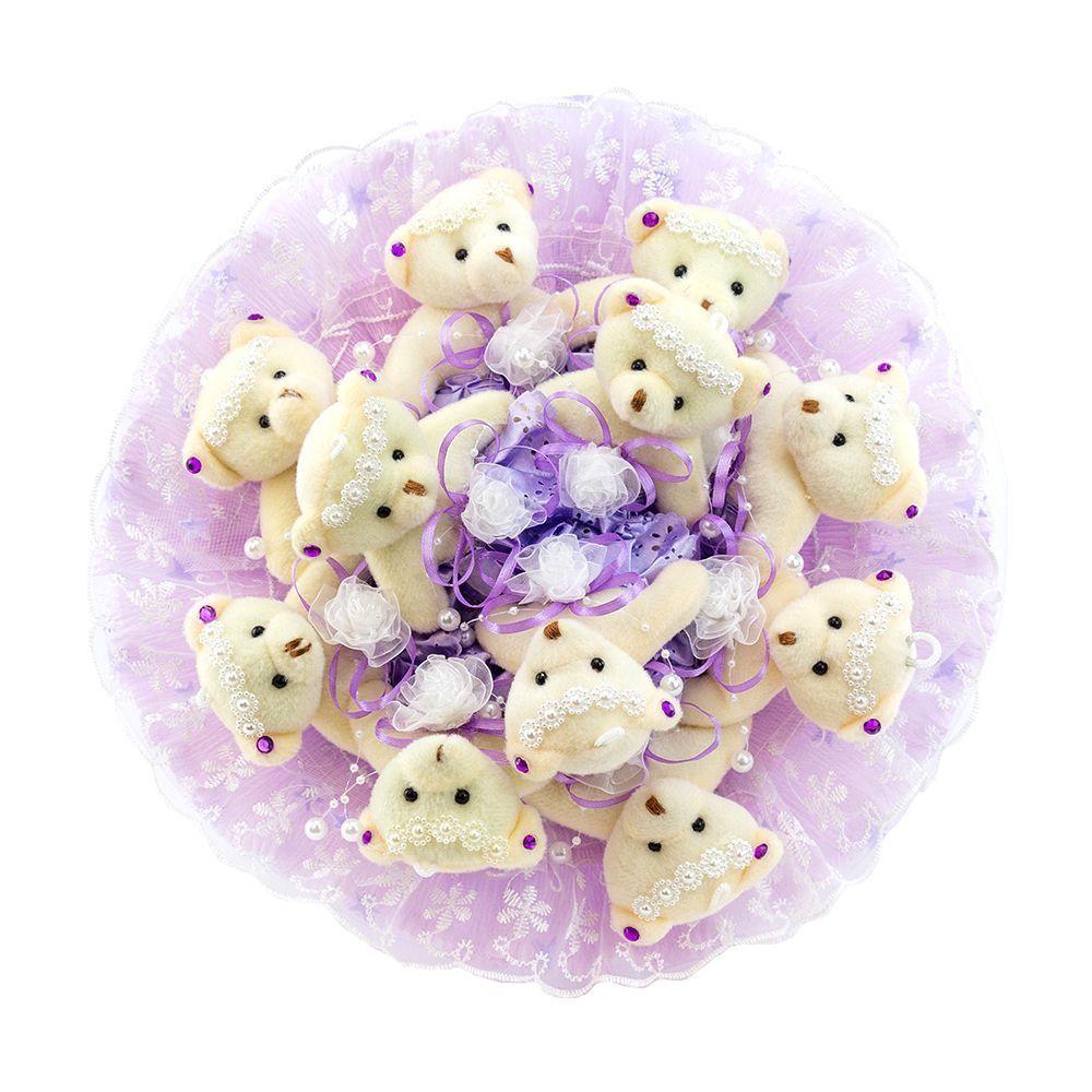 """Букет из 11 мягких игрушек """"Медвежата"""", фиолетовый"""