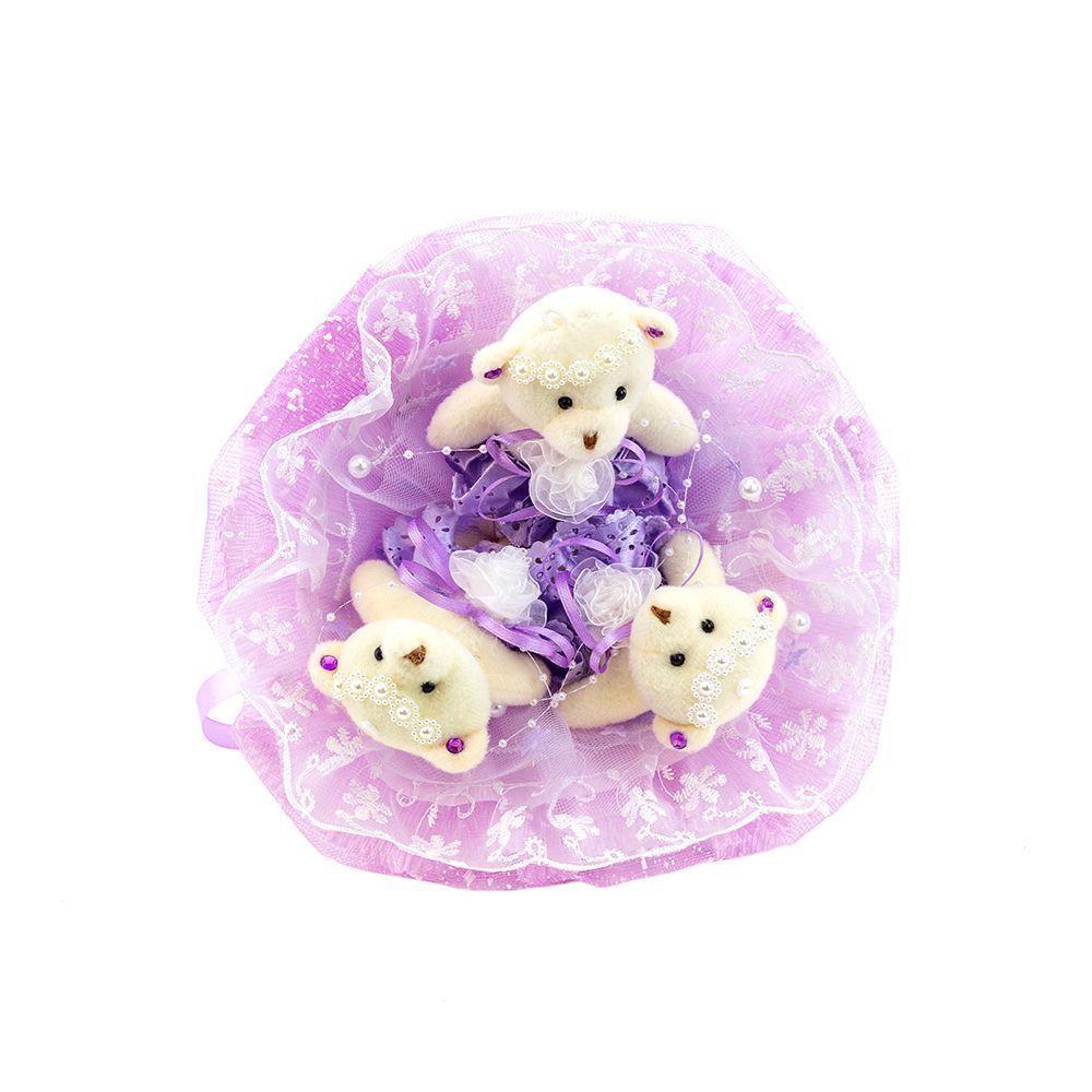 """Букет из 3 медвежат """"Зефирки"""", фиолетовый"""
