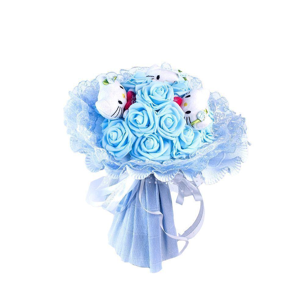 """Букет из 3 мягких игрушек """"Котята и розы"""", голубой"""