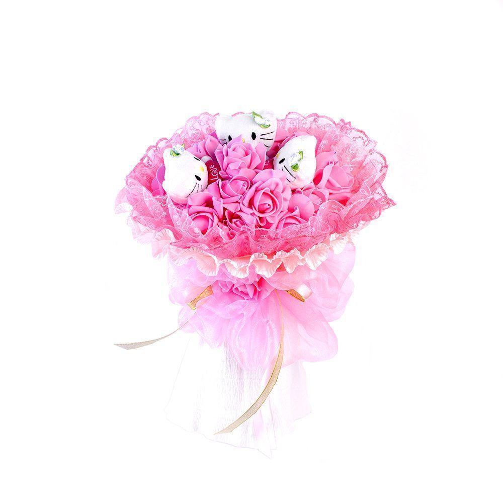 """Букет из 3 мягких игрушек """"Котята и розы"""", розовый"""