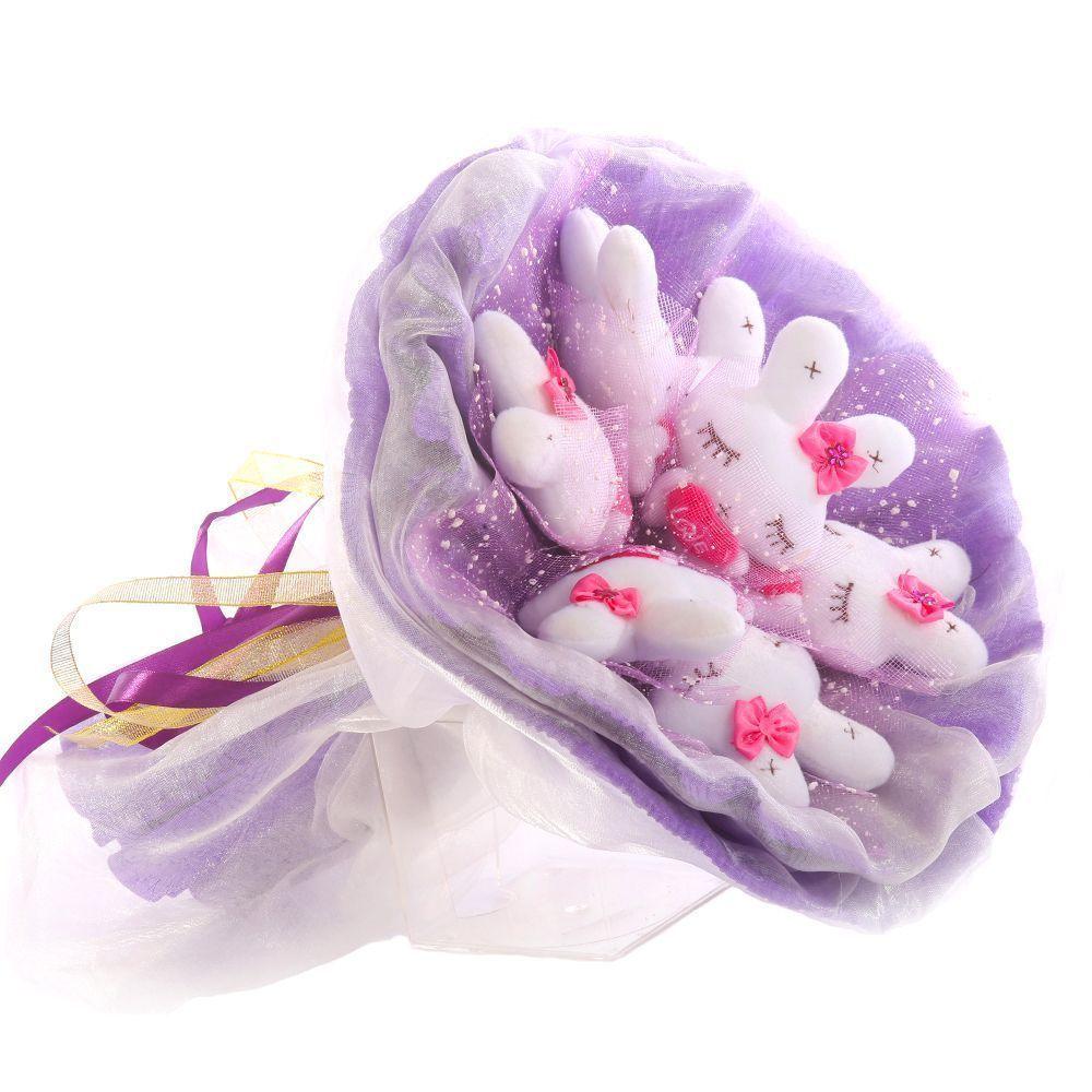 """Букет из 7 мягких игрушек """"Зайчата"""", фиолетовый"""