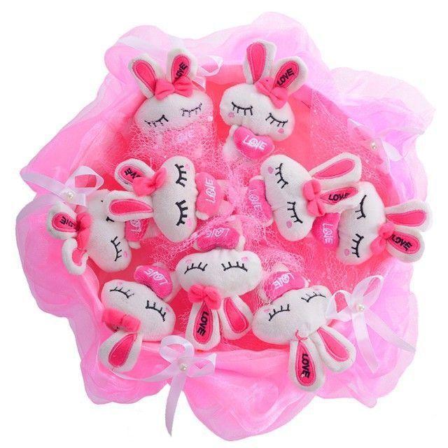"""Букет из 9 мягких игрушек """"Зайчата"""", розовый"""