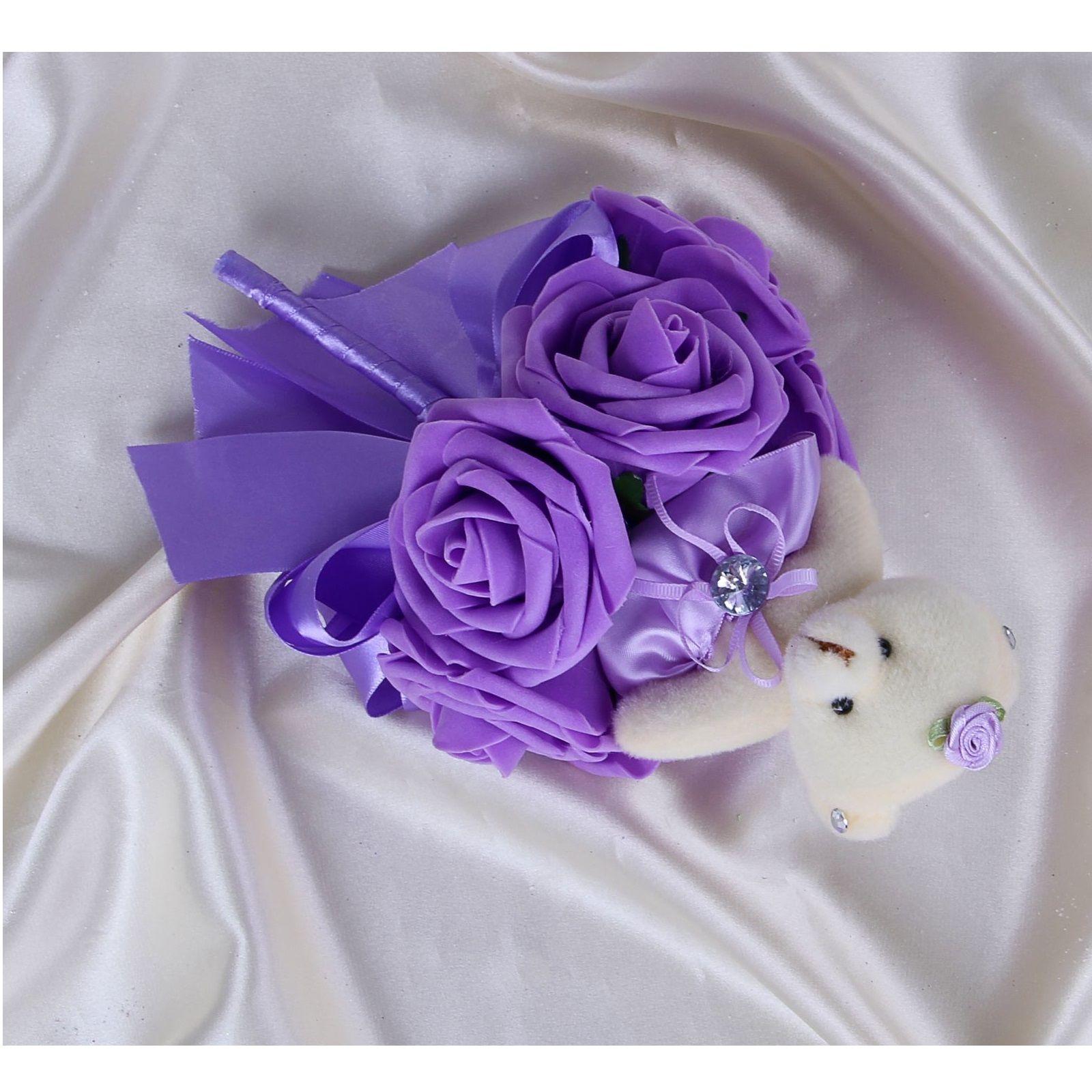 """Букет из 1 медвежонка """"Дюймовочка"""", фиолетовый"""