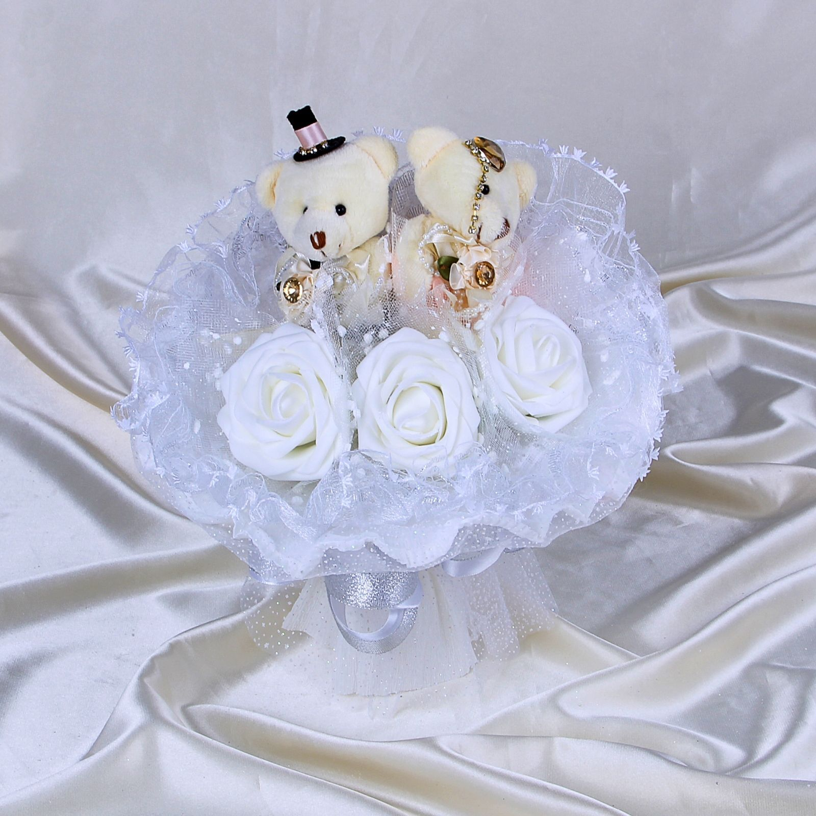 """Букет из мягких игрушек """"Жених и невеста"""", белый"""