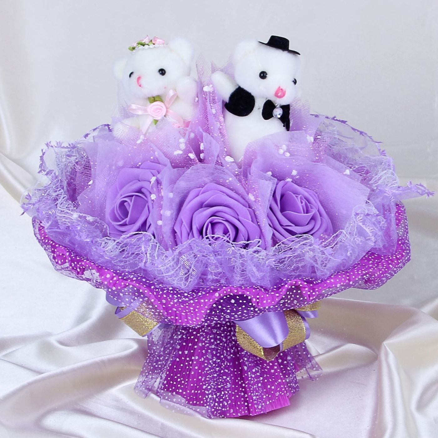 """Свадебный букет из игрушек """"Горько"""", фиолетовый"""