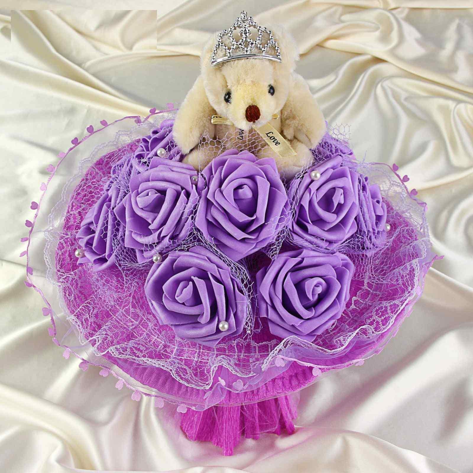 """Букет из мягких игрушек """"Ля мур"""", фиолетовый"""