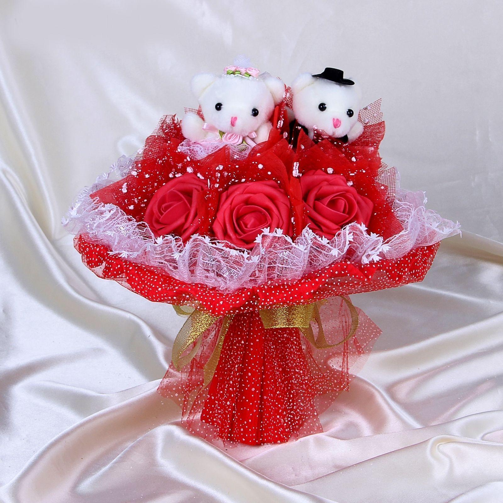 """Свадебный букет из игрушек """"Горько"""", красный"""