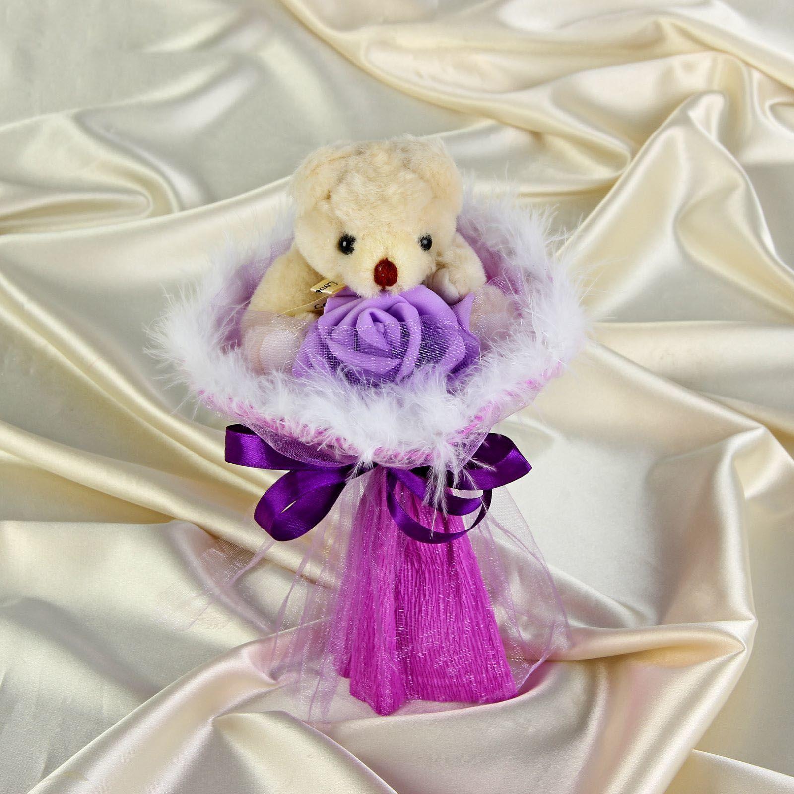 """Букет из игрушек """"Букеты с мишками"""" - Симпатия, фиолетовый"""