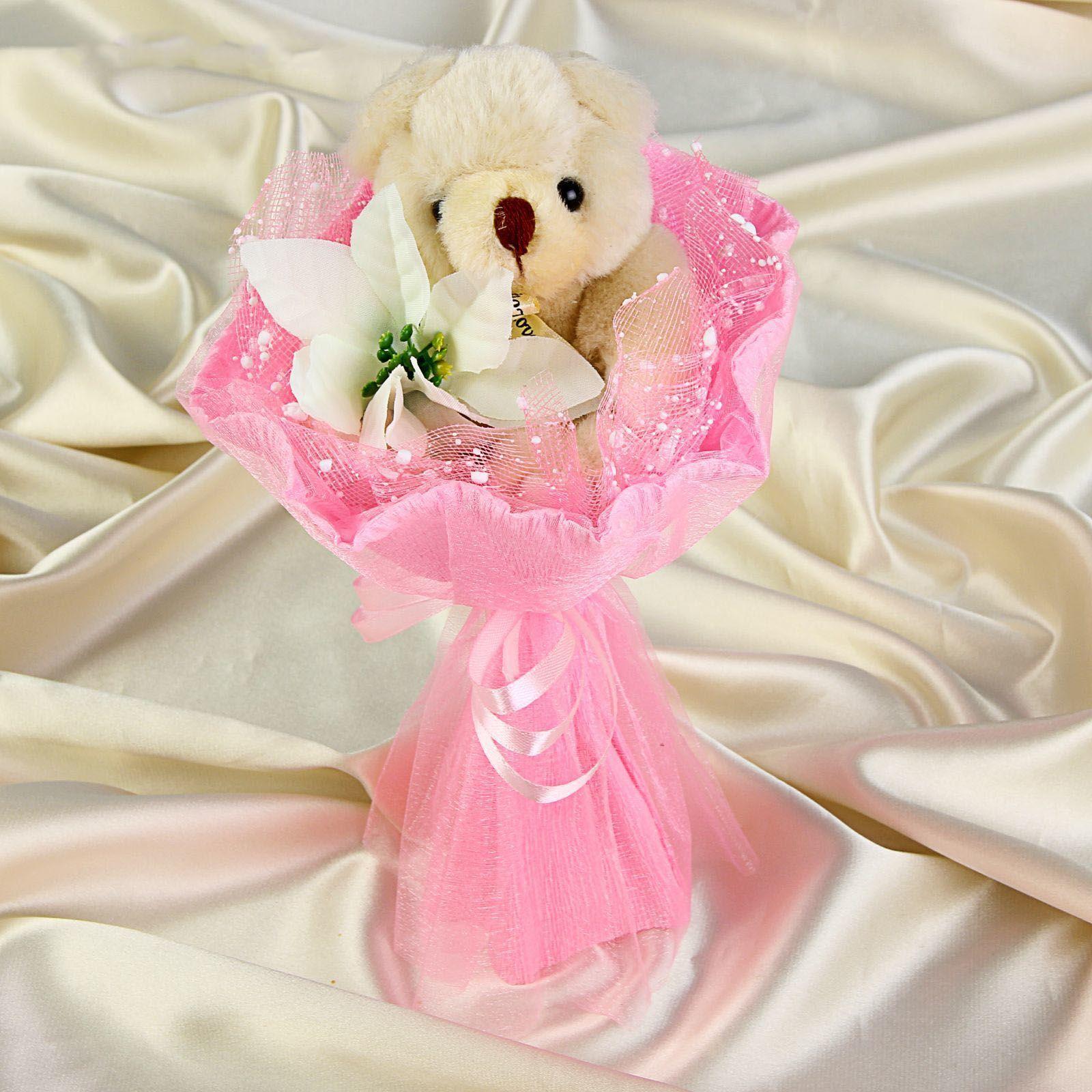 """Букет из медвежонка """"Очаровашке"""", розовый"""