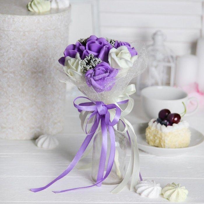 """Букет """"От всего сердца"""" 7 цветов, молочный + фиолетовый"""