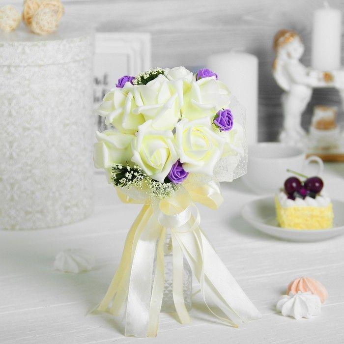 """Букет """"Поздравляю"""" 9 цветов, сливочный + фиолетовый"""