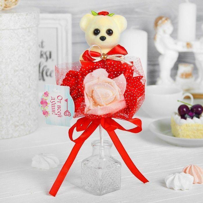 """Букет """"Я люблю тебя"""", 3 цветка, красный + белый"""