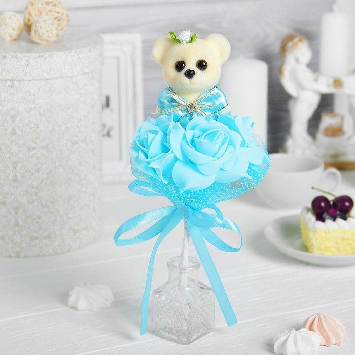 """Букет """"От всей души"""", 3 цветка, голубой"""