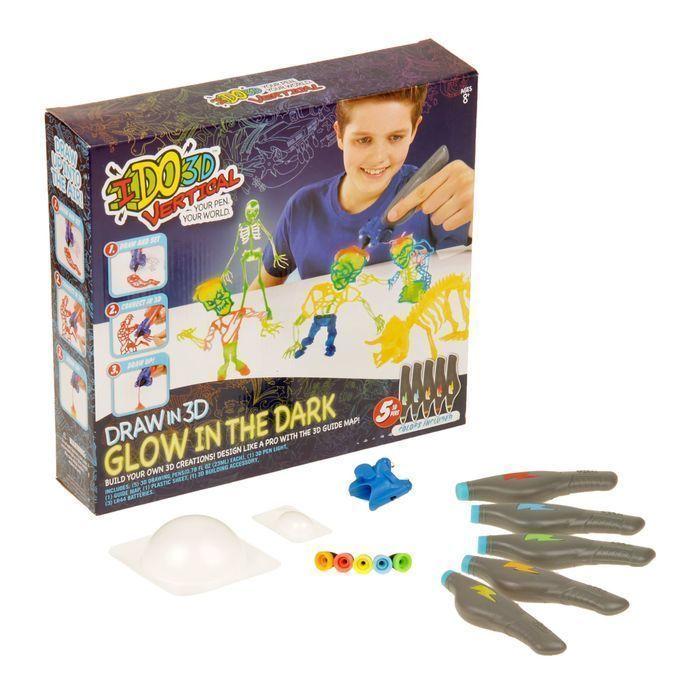 """3D-ручка """"Вертикаль """"Магия света"""": 5 ручек с пастой, светящейся в темноте """"Зомби"""""""