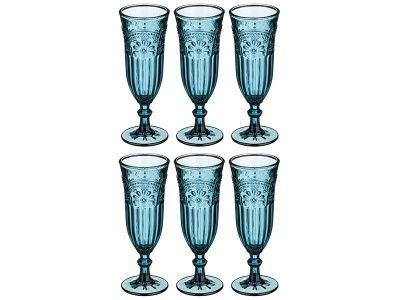 """Набор бокалов для шампанского из 6 шт. """"индиго"""" 180 мл. высота 19 см."""