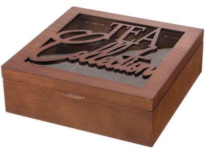 """Шкатулка для чая """"tea collection"""" коричневая с 9-ю секциями 24*24*8 см."""