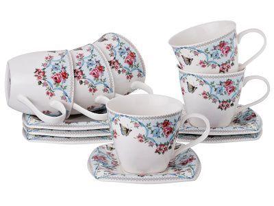 Чайный набор белый с цветами на 6 персон, 12 приборов