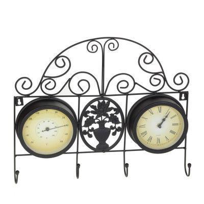 Часы настенные с термометром и крючками, L45 W6 H38 см, D15 см