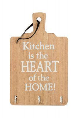 """Настенное украшение с 3 крючками """"Кухня - сердце дома"""" 18*29*1см"""