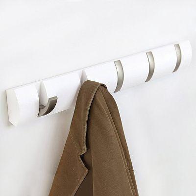 Вешалка настенная горизонтальная flip 5 крючков белая