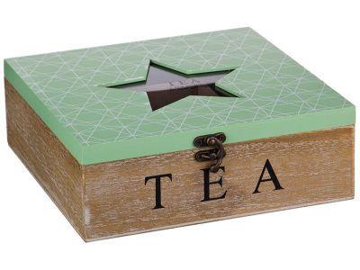 """Шкатулка для чая """"звезда"""" зеленая 24*24*9 см"""