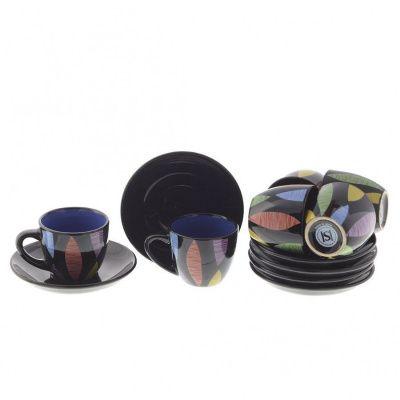 Чайный набор на 6 персон, 12 предметов (чашка с блюдцем 100 мл), 2в
