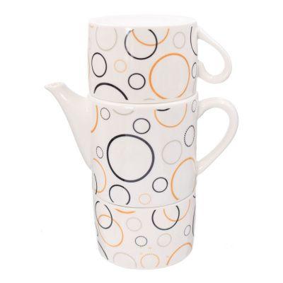 Чайный набор на 2 персоны, 3 предм ( чашка 200мл, чайник 400 мл), 4 в