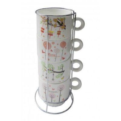 Чашка, набор 4-х шт на подставке, 270мл