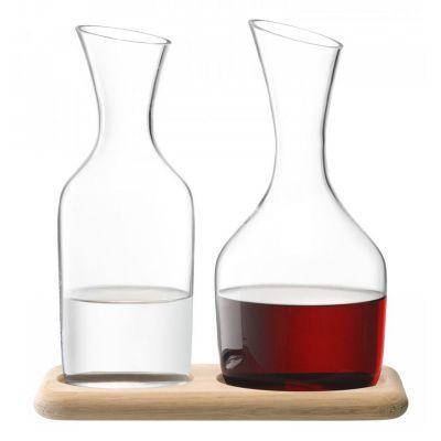 Набор из кувшинов для вина и воды на деревянной подставке 1.2 л/1.4 л