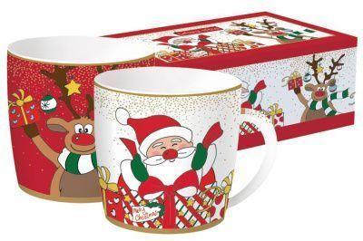 Набор из 2-х кружек Дед Мороз с друзьями в подарочной упаковке